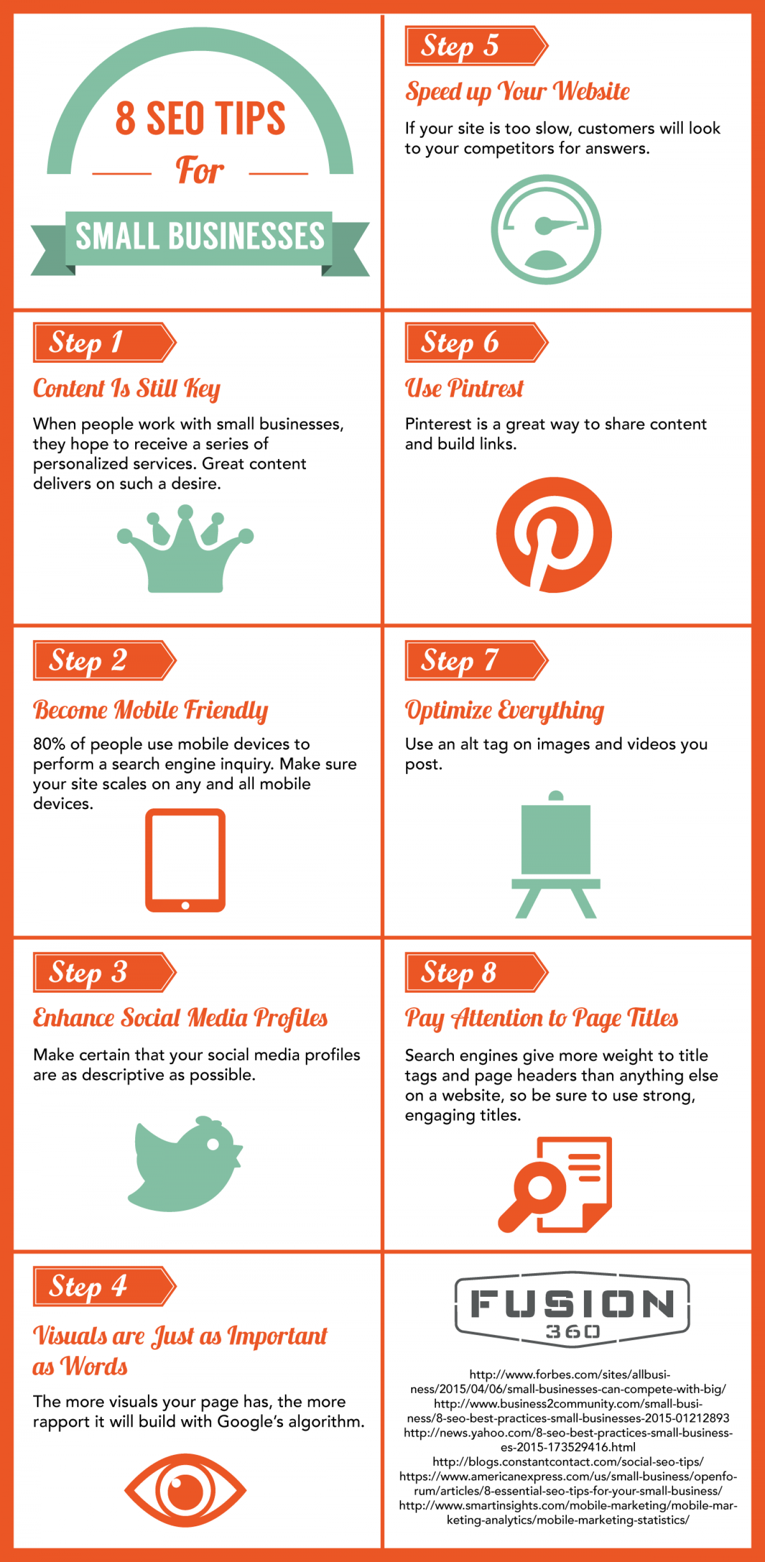 8 SEO Tips for Small Businesses Infographic