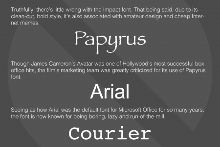 8 Unacceptable Fonts for Serious Web Development Infographic