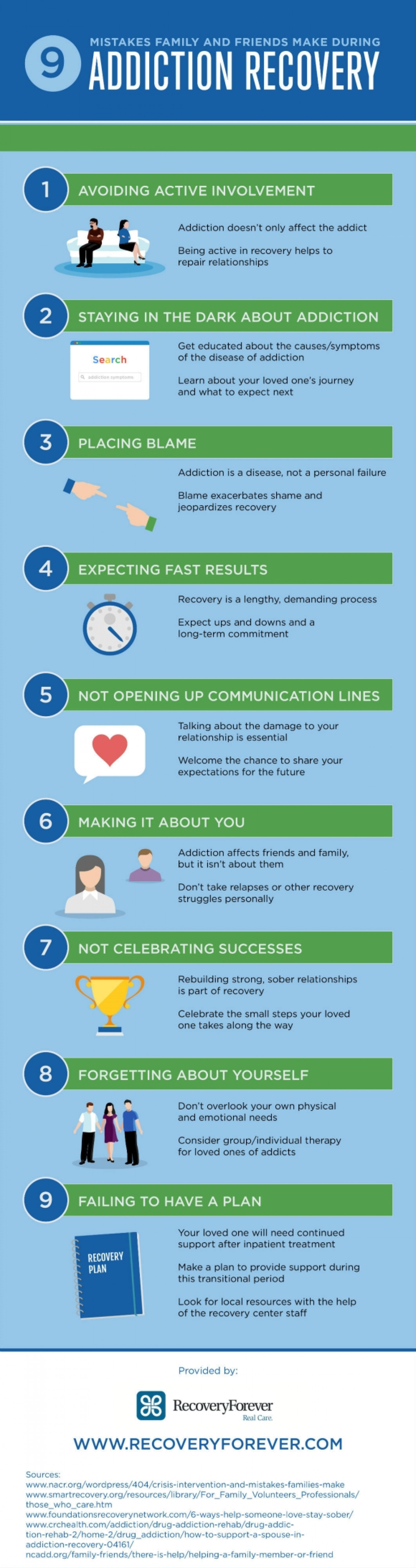 9 Mistakes Family and Friends Make During Addiction Recovery Infographic