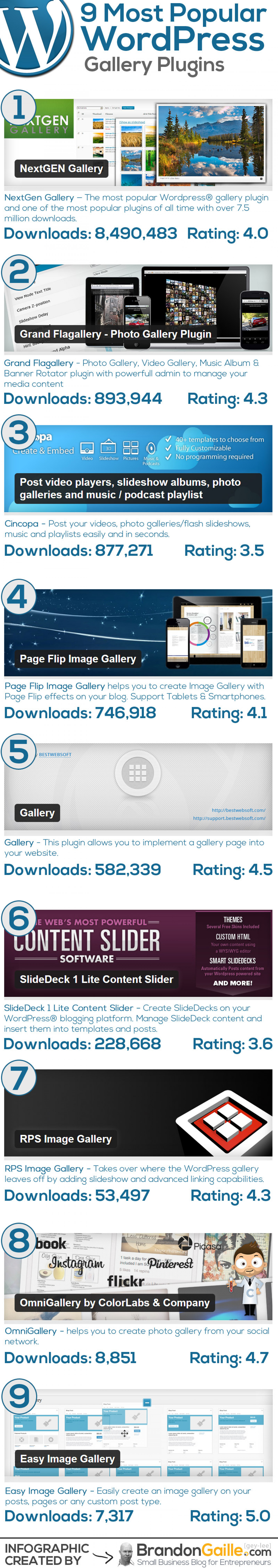 9 Most Popular WordPress Gallery Plugins Infographic