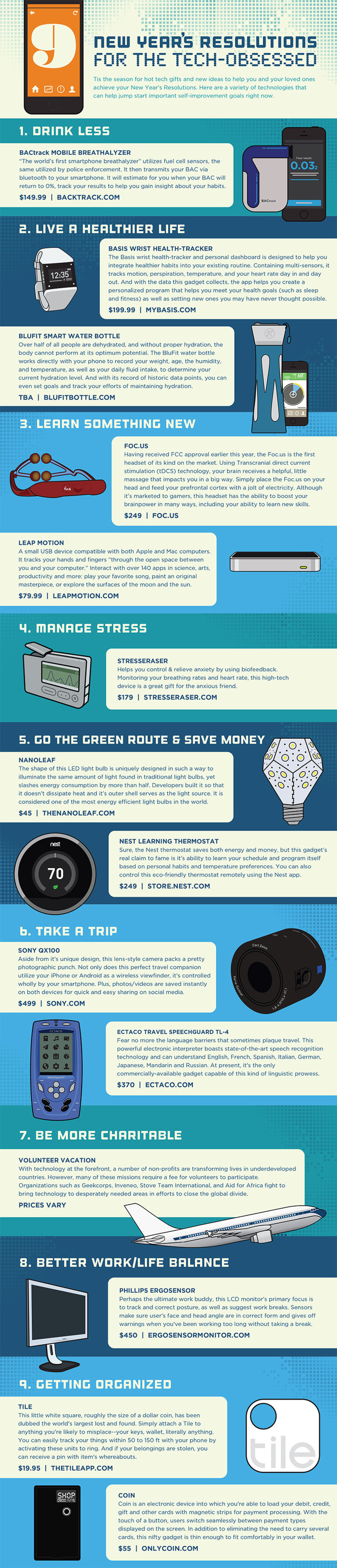 9 New Years Resolutions for the tech obsessed Infographic