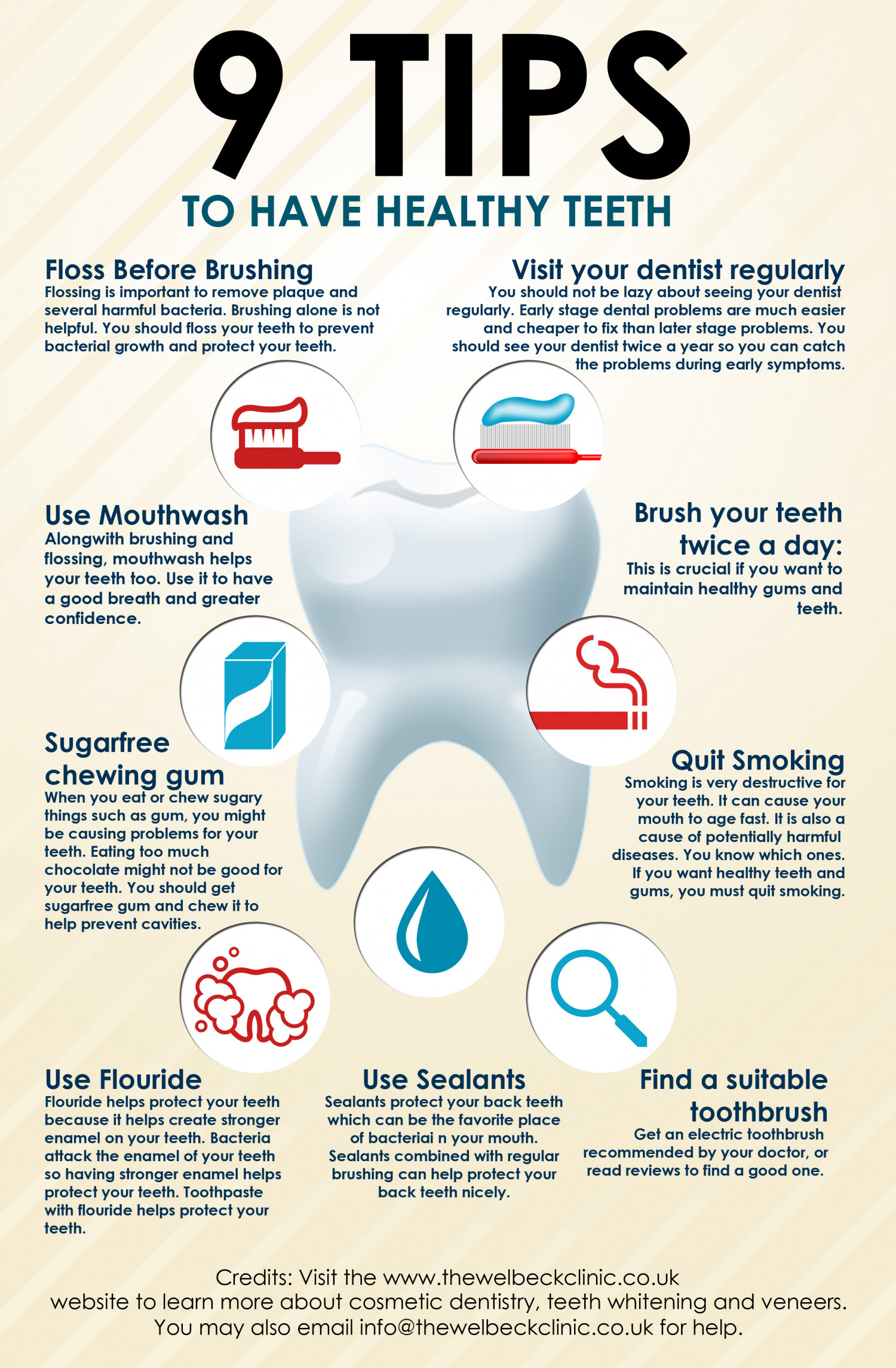 Tips for healthy teeth infographic