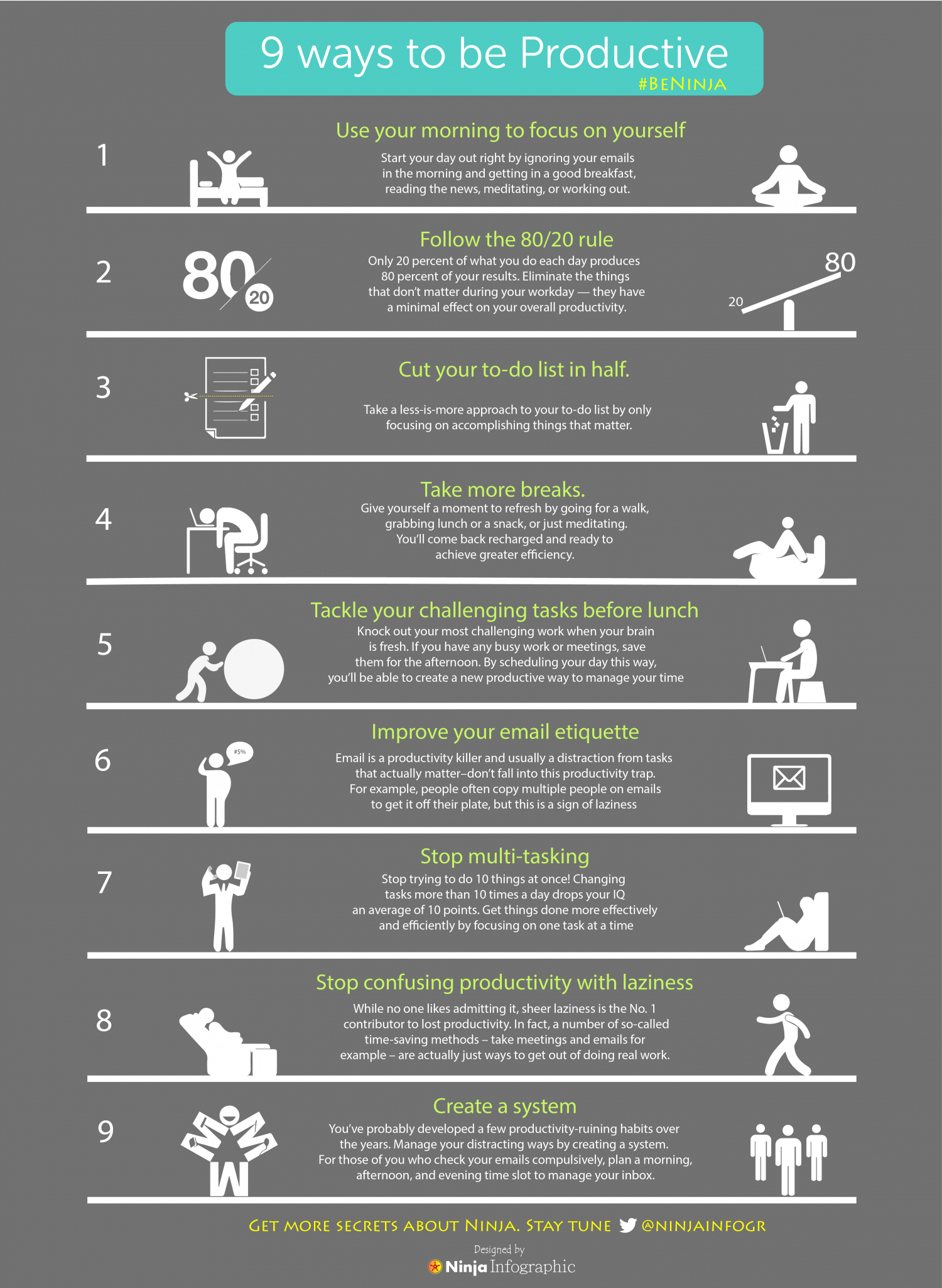 9 Ways to be Productive Infographic