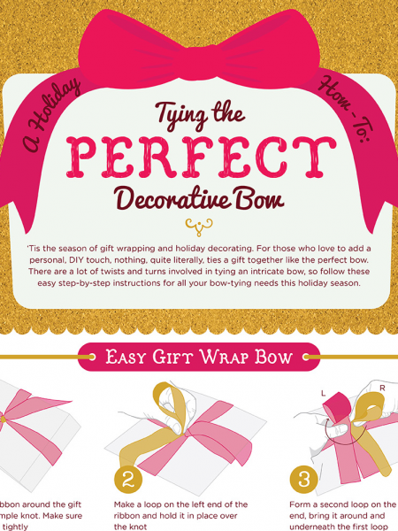 A Holiday How To - Tying The Perfect Decorative Bow Infographic