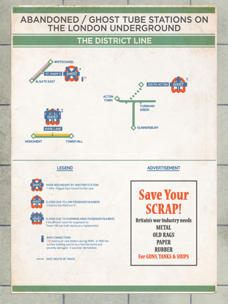 Abandoned / Ghost Stations on the London Underground Infographic