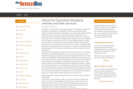 About the Open2kart Shopping website and their services Infographic