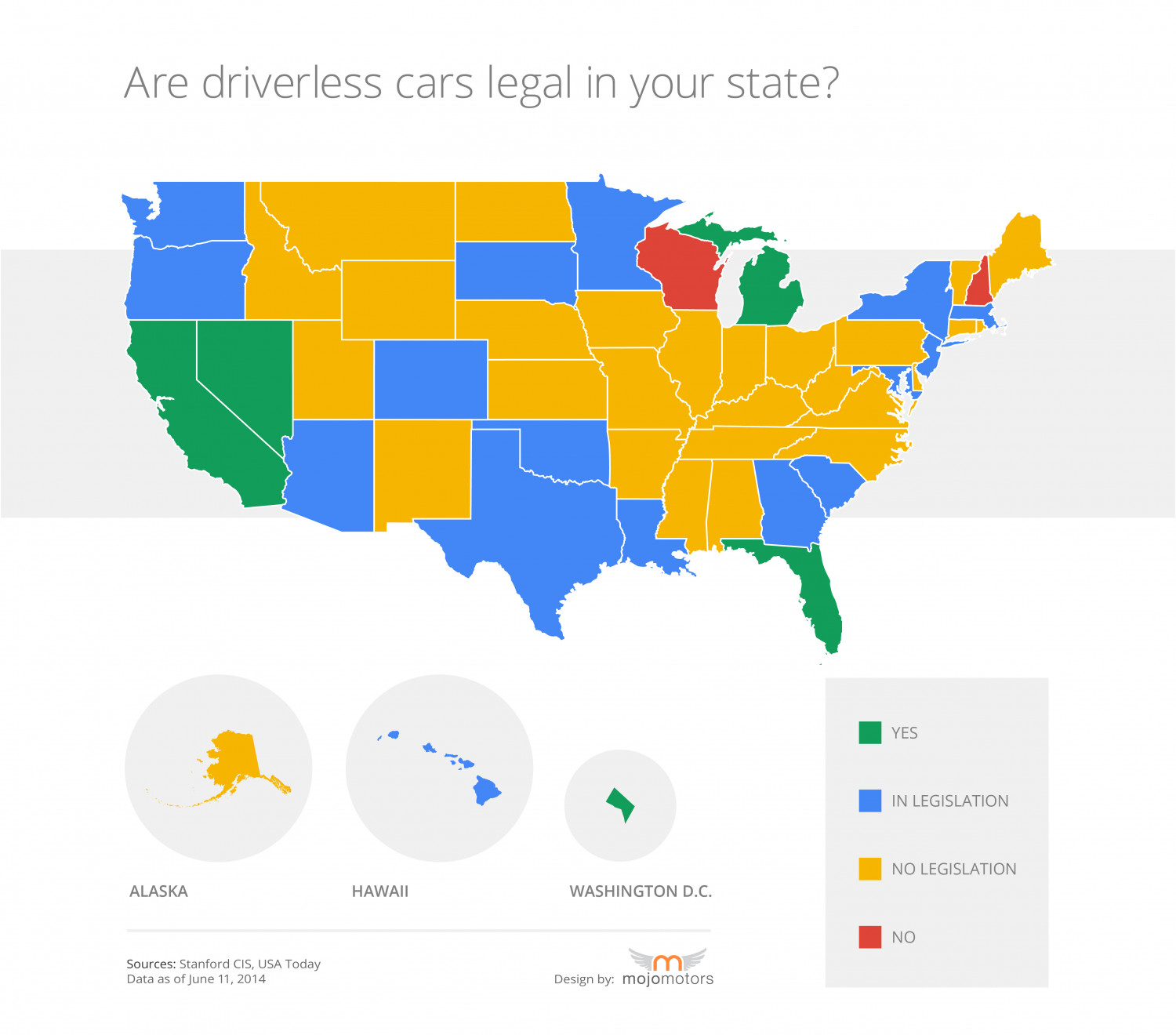 Are driverless cars legal in your state? Infographic