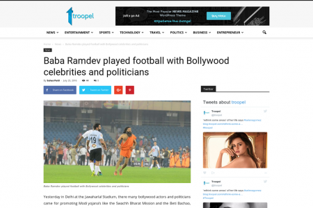 Baba Ramdev played football with Bollywood celebrities and politicians Infographic