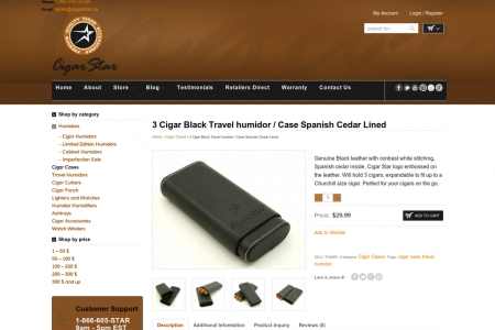 Black Travel humidor for three Cigar Infographic
