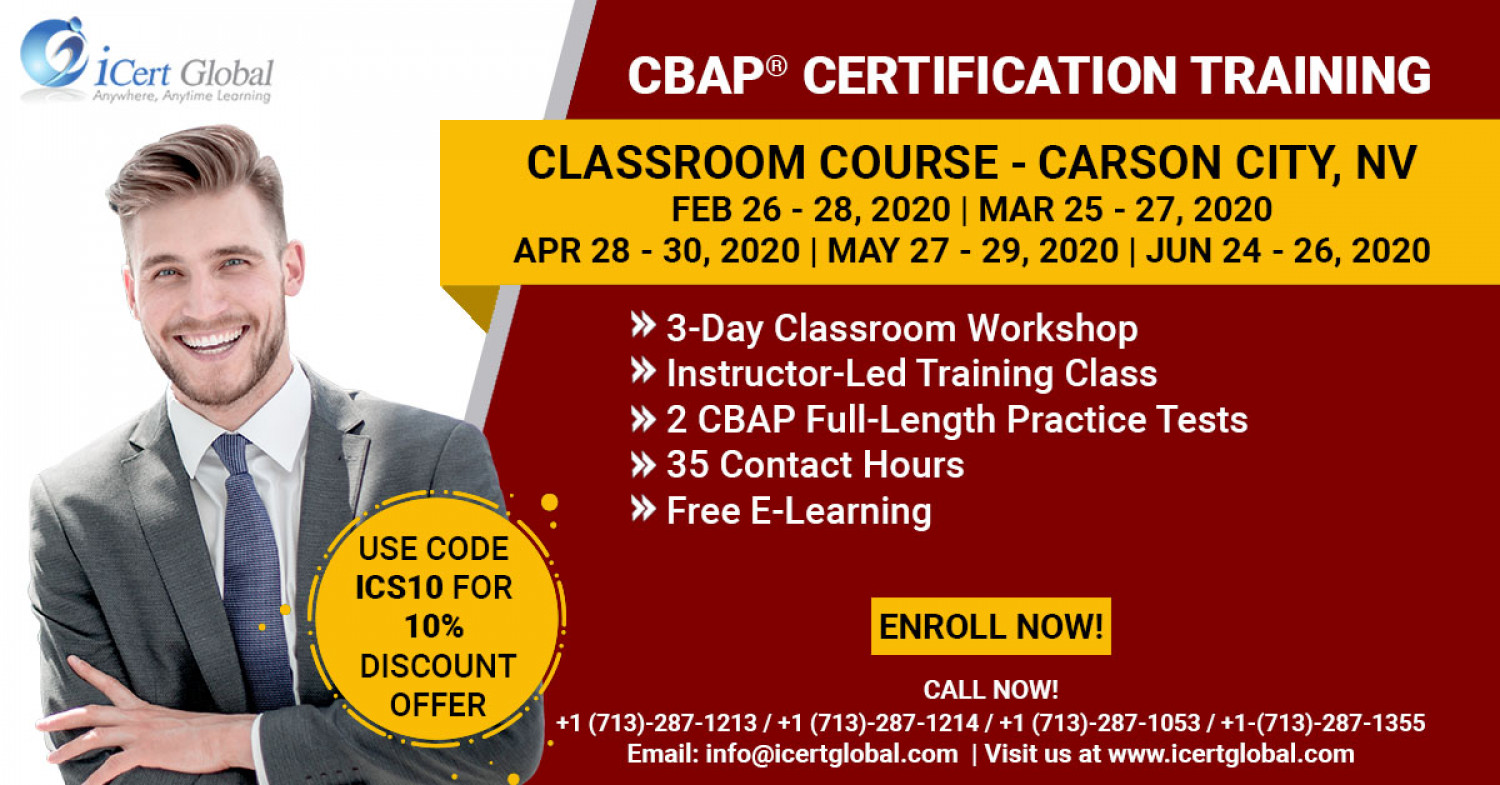 CBAP Certification Training in Carson City, NV   Classroom Training   iCert Global Infographic