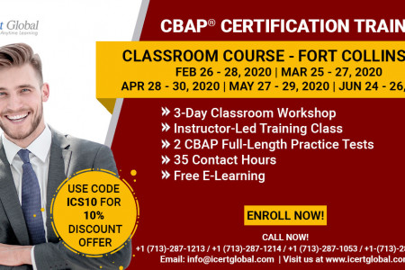 CBAP Certification Training in Fort Collins, CO   Classroom Training   iCert Global Infographic