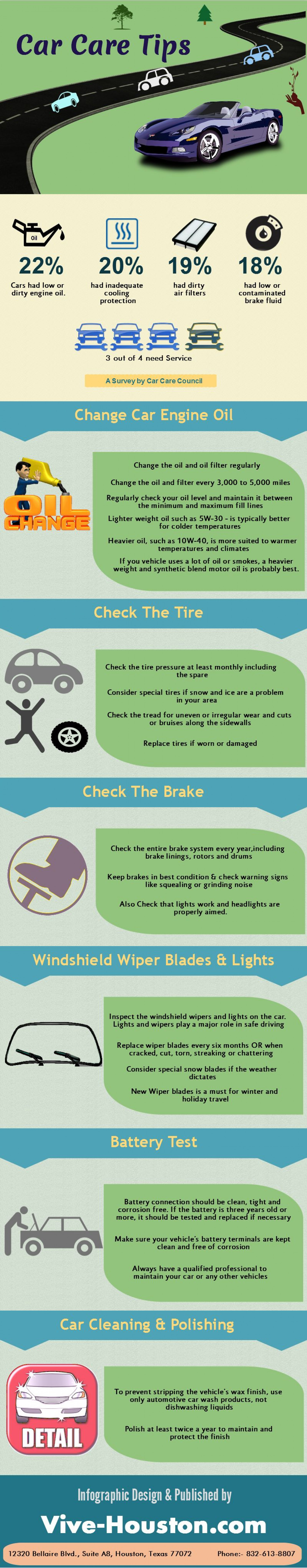 Car Care and Maintainance Tips Infographic