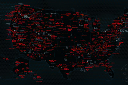 Devil and Hell Map, USA Infographic