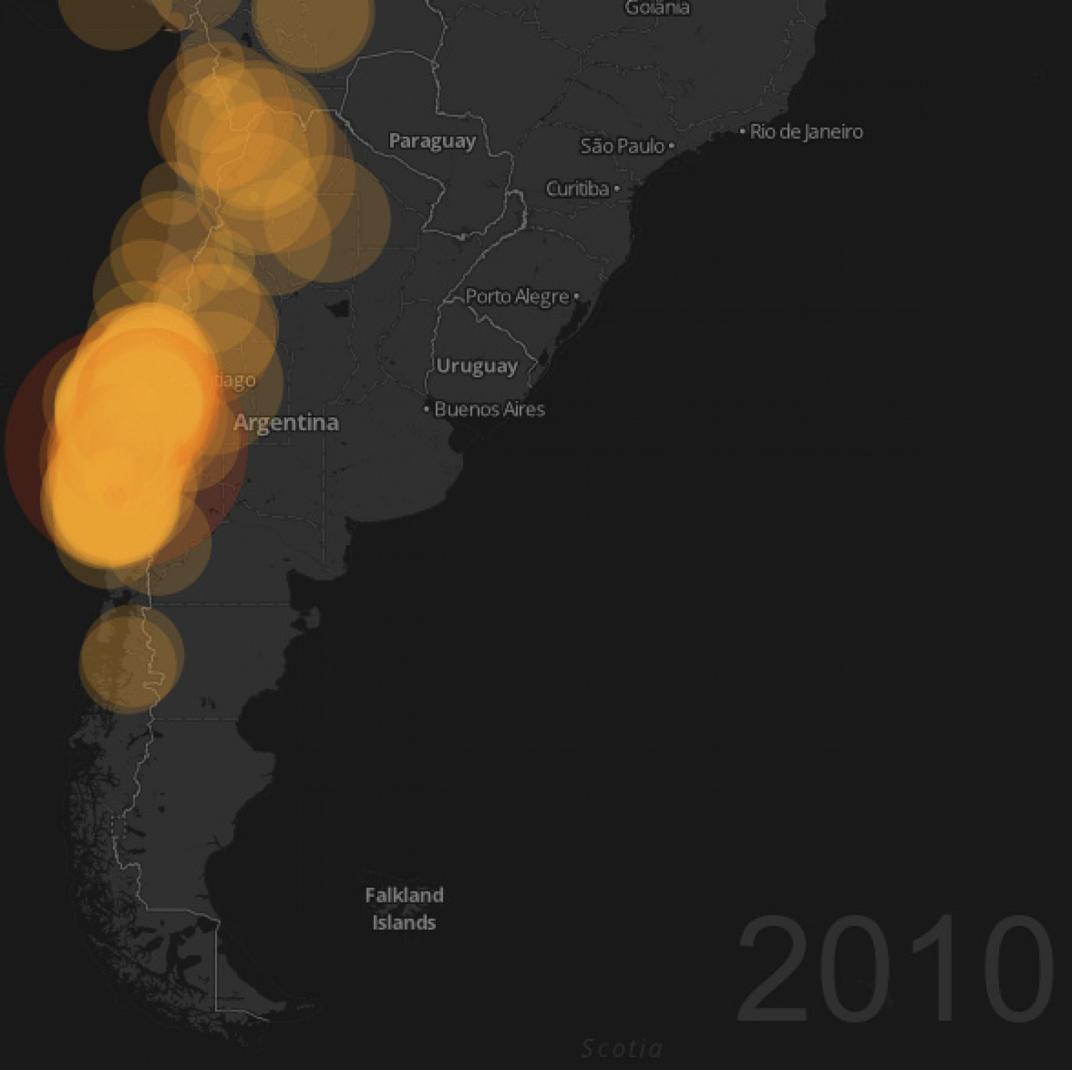 Earthquakes in Chile since 1900 Infographic