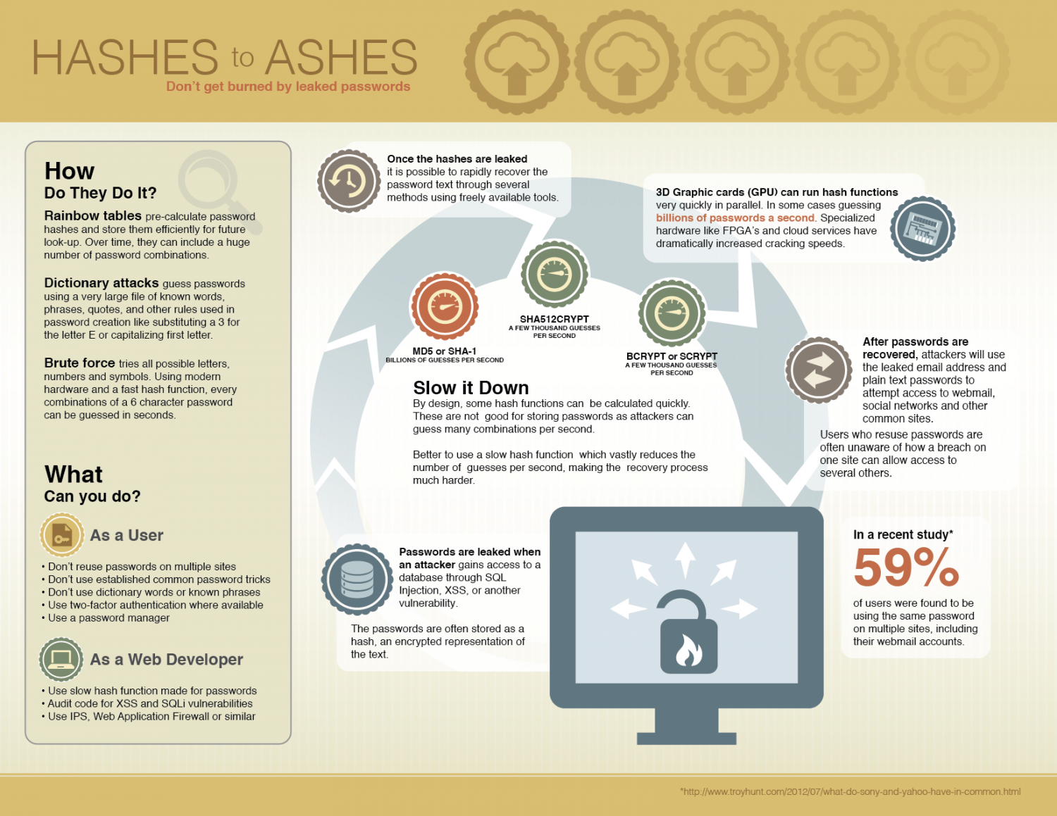 Hashes to Ashes - don't get burned by leaked passwords Infographic
