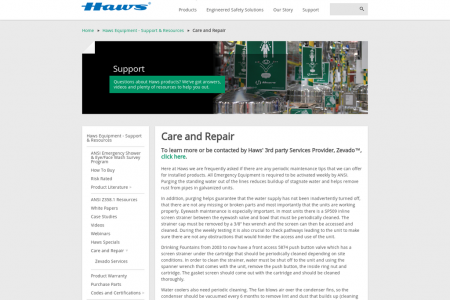 Haws Corporation Tempered Water Nevada USA, Singapore: Care and Repair Infographic