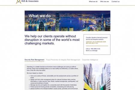 Hill & Associates - Security Risk Management: What We Do Infographic