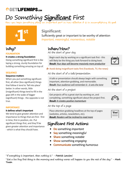 How To Maximize Your Results By Doing Something Significant First! Infographic