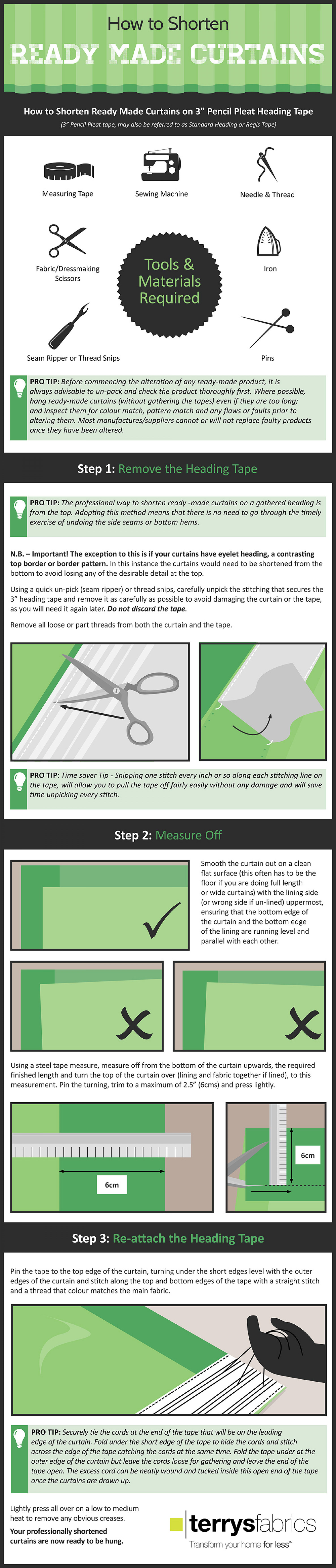 How to shorten Ready Made Curtains Infographic