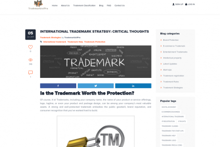 INTERNATIONAL TRADEMARK STRATEGY: CRITICAL THOUGHTS Infographic