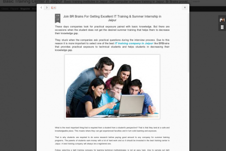 Join BR Brains For Getting Excellent IT Training & Summer Internship in Jaipur  Infographic