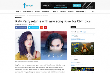 Katy Perry returns with new song 'Rise' for Olympics Infographic