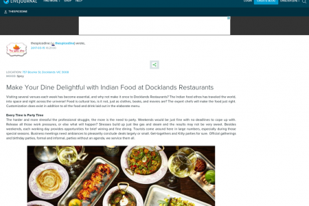 Make Your Dine Delightful with Indian Food at Docklands Restaurants Infographic