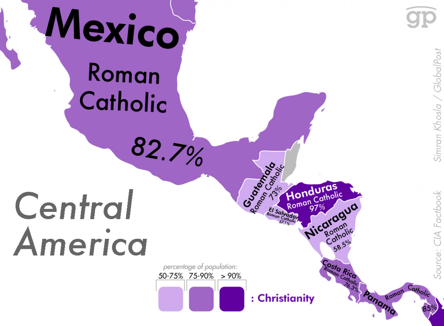 Most Religious Places: Central America Infographic