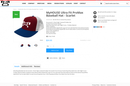 MyHOUSE Ultra Fit ProMax Baseball Hat Scarlet color Infographic