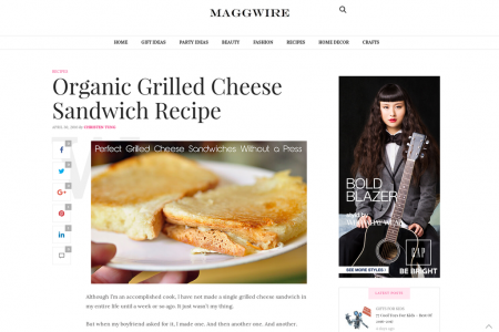 Organic Grilled Cheese Sandwich Recipe Infographic
