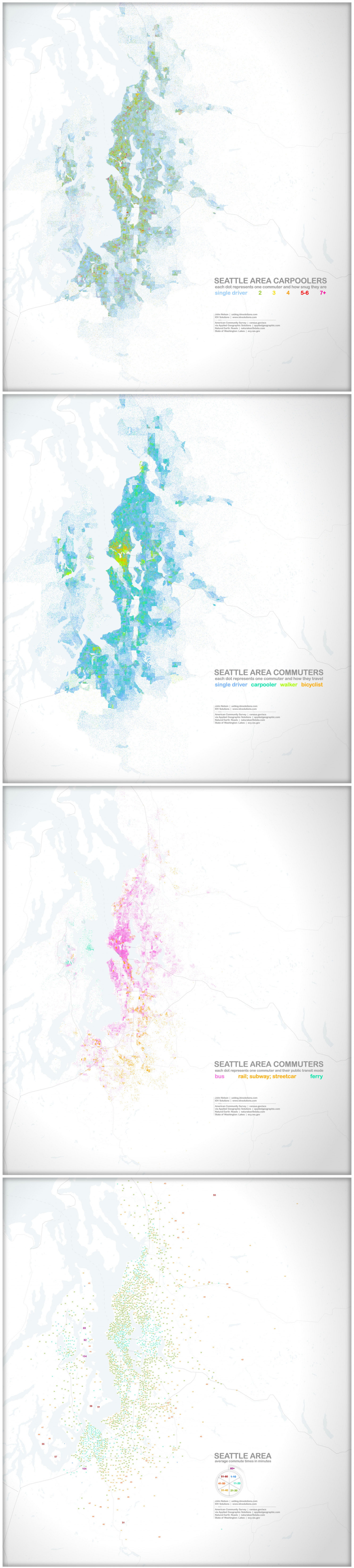 People Dots of Seattle Commuting Infographic