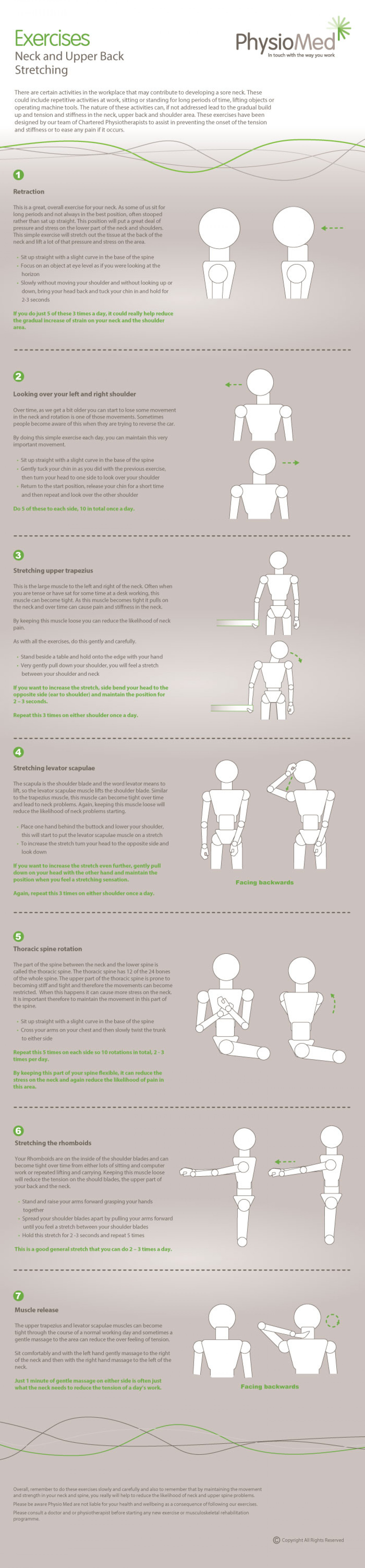 Neck and Upper Back Stretching Exercises: Occupational Physiotherapy Stretching - Physio Med Infographic