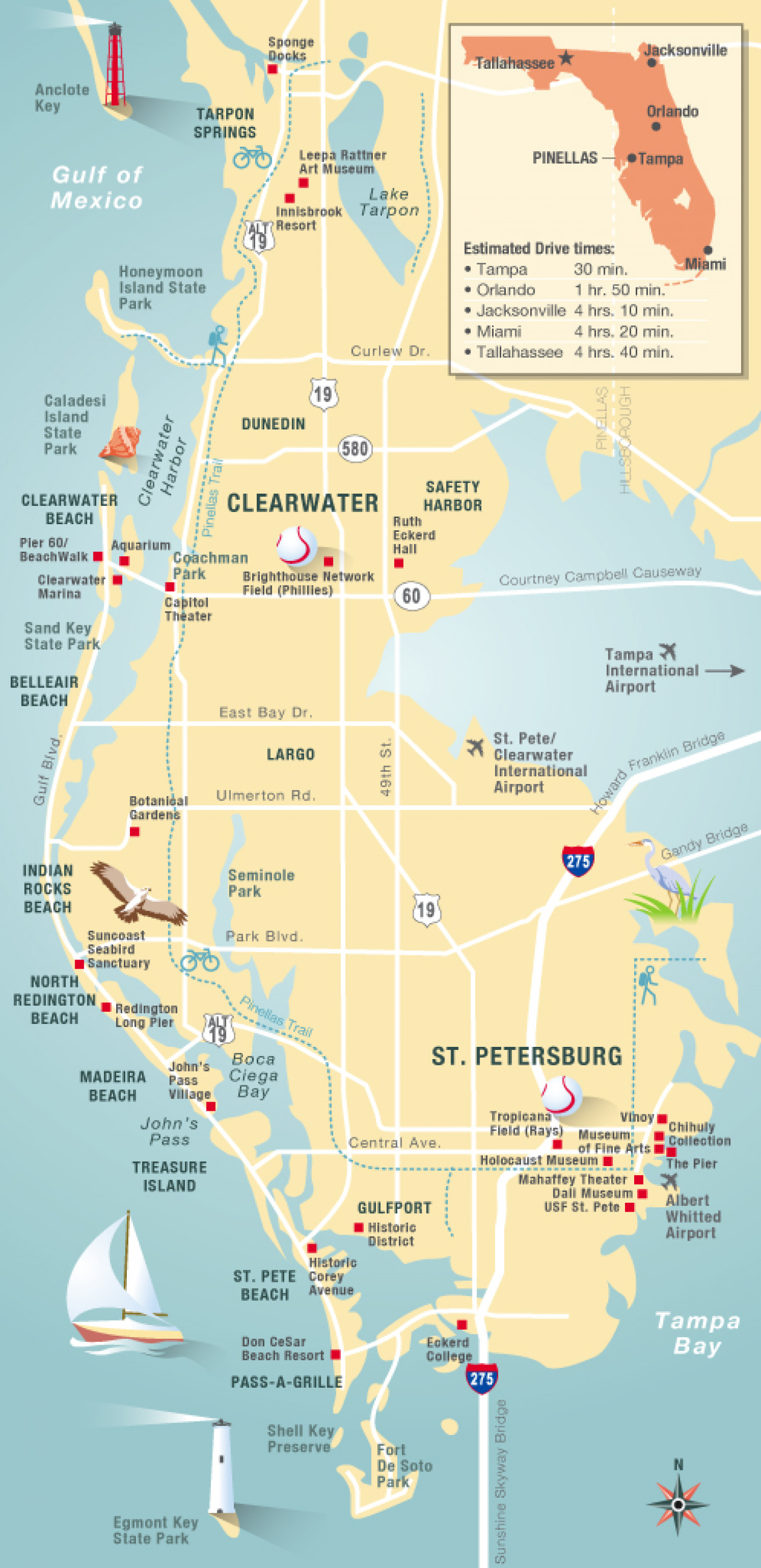 Pinellas Florida map Infographic