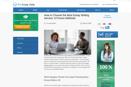 ProEssayHelp - How to Choose the Best Essay Writing Service: 8 Proven Methods Infographic