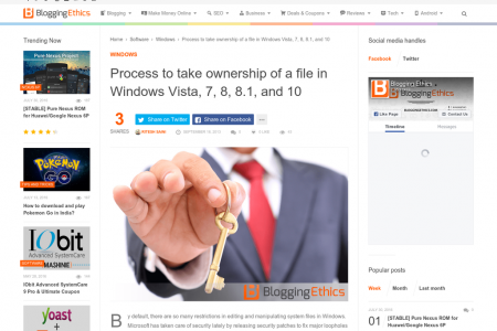 Process to take ownership of a file in Windows Vista, 7, 8, 8.1, and 10 Infographic