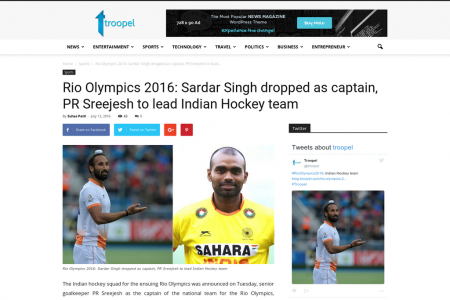 Rio Olympics 2016: Sardar Singh dropped as captain, PR Sreejesh to lead Indian Hockey team Infographic