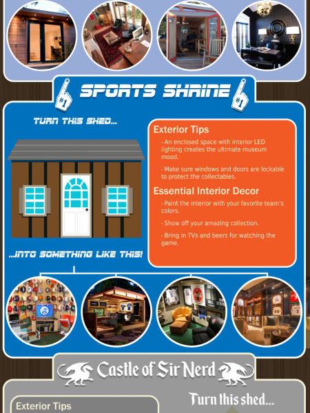 Some cool man cave sheds Infographic