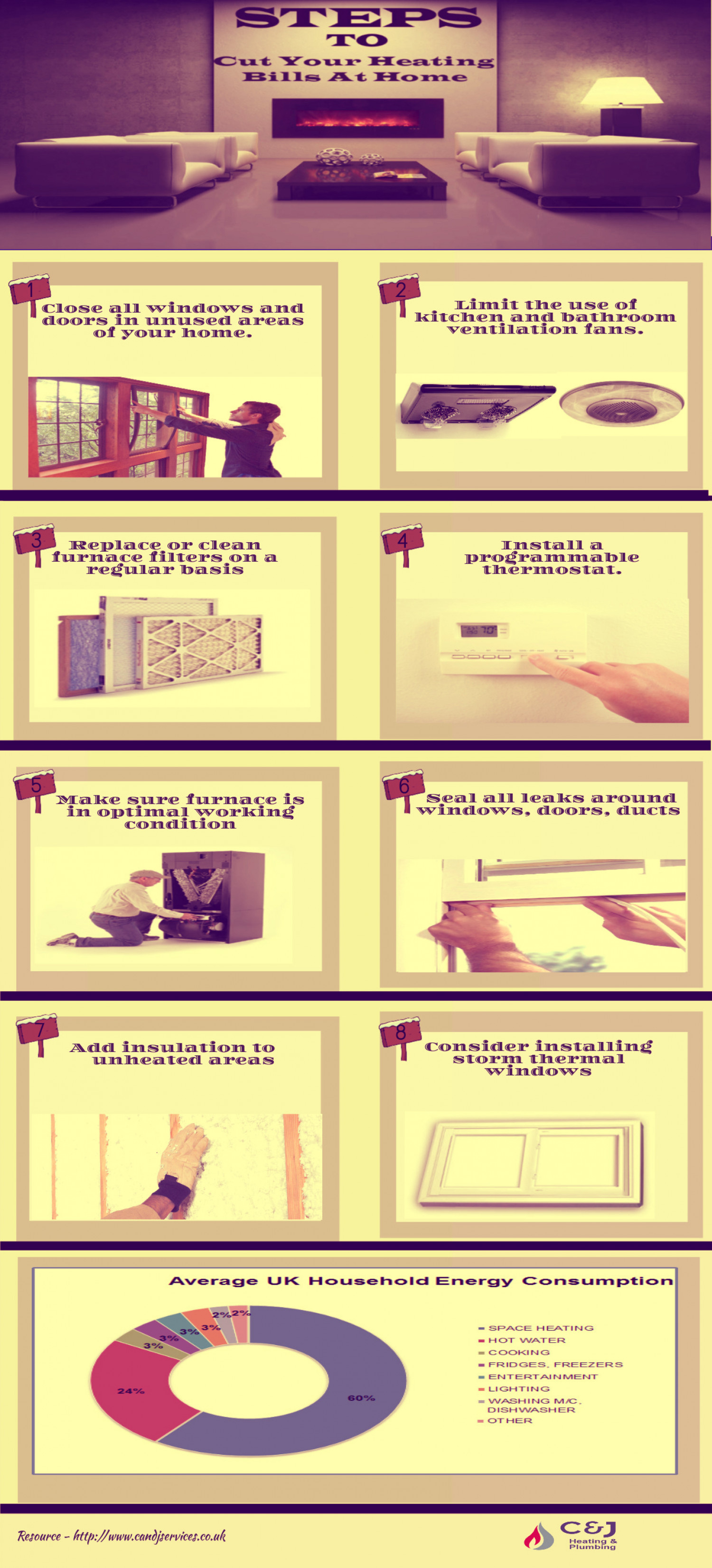 Steps to Cut Your Heating Bills at Home  Infographic