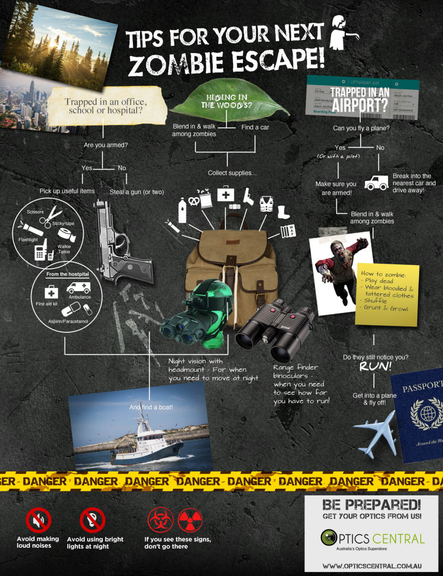 Tips For Your Next Zombie Escape Infographic