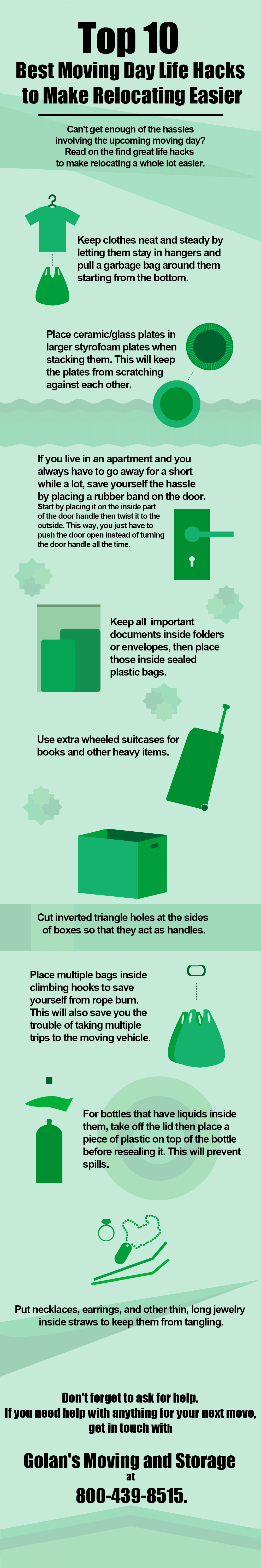 Top 10 Moving Day Life Hacks to Make Relocating Easier Infographic
