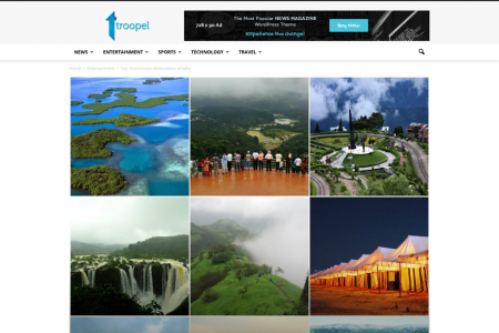 Top 10 monsoon destinations of India Infographic