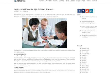 Top 6 Tax Preparation Tips For Your Business Infographic