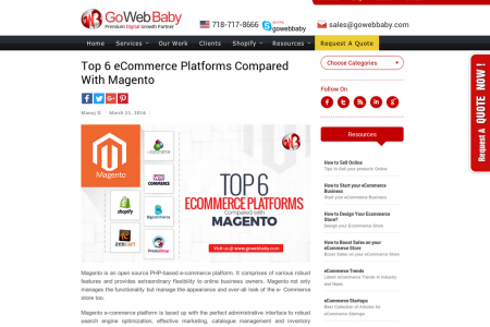 Top 6 eCommerce Platforms Compared With Magento Infographic