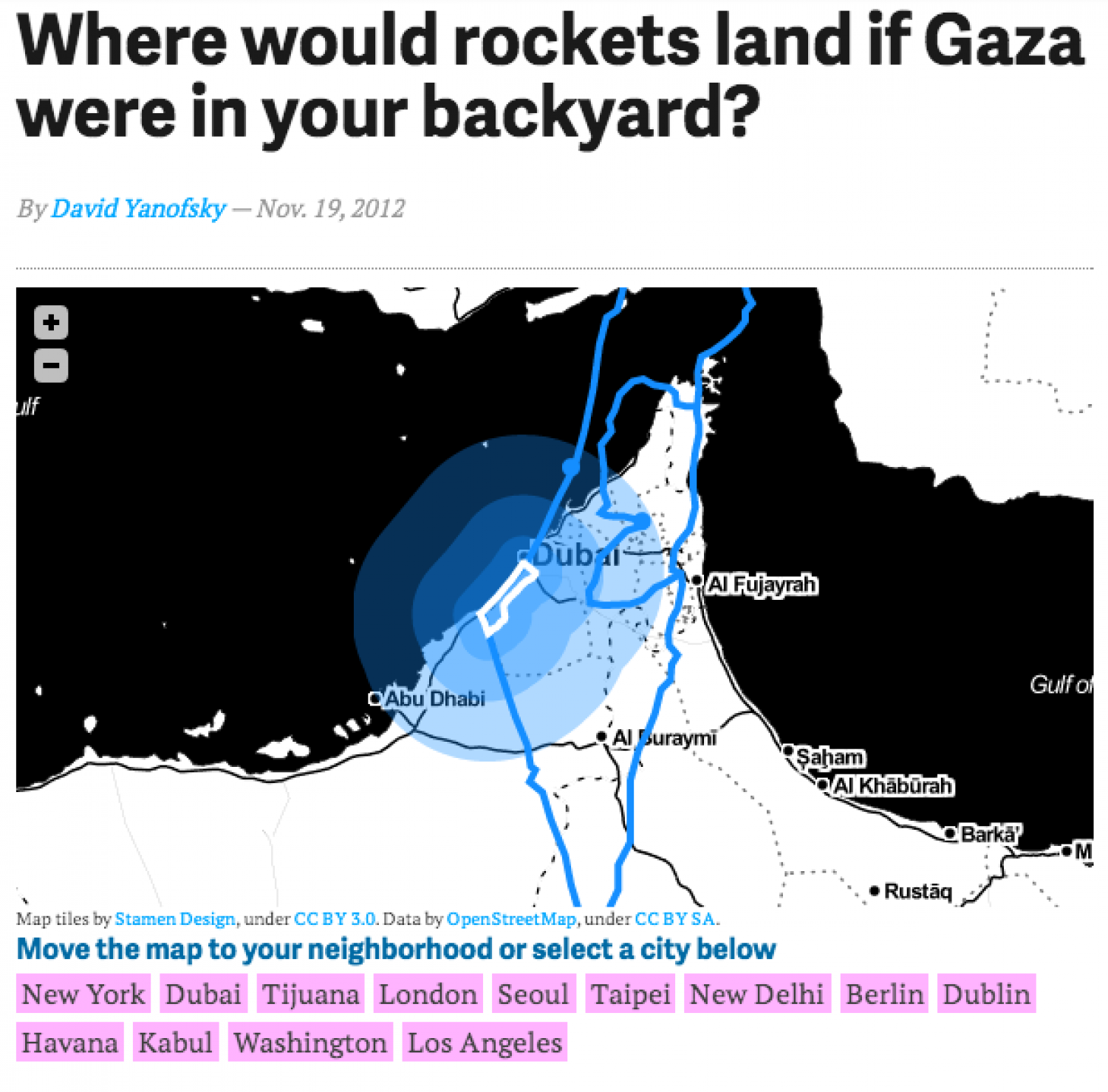 Where would rockets land if Gaza were in your backyard? Infographic