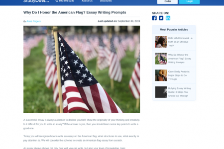 Why Do I Honor the American Flag? Essay Writing Prompts Infographic