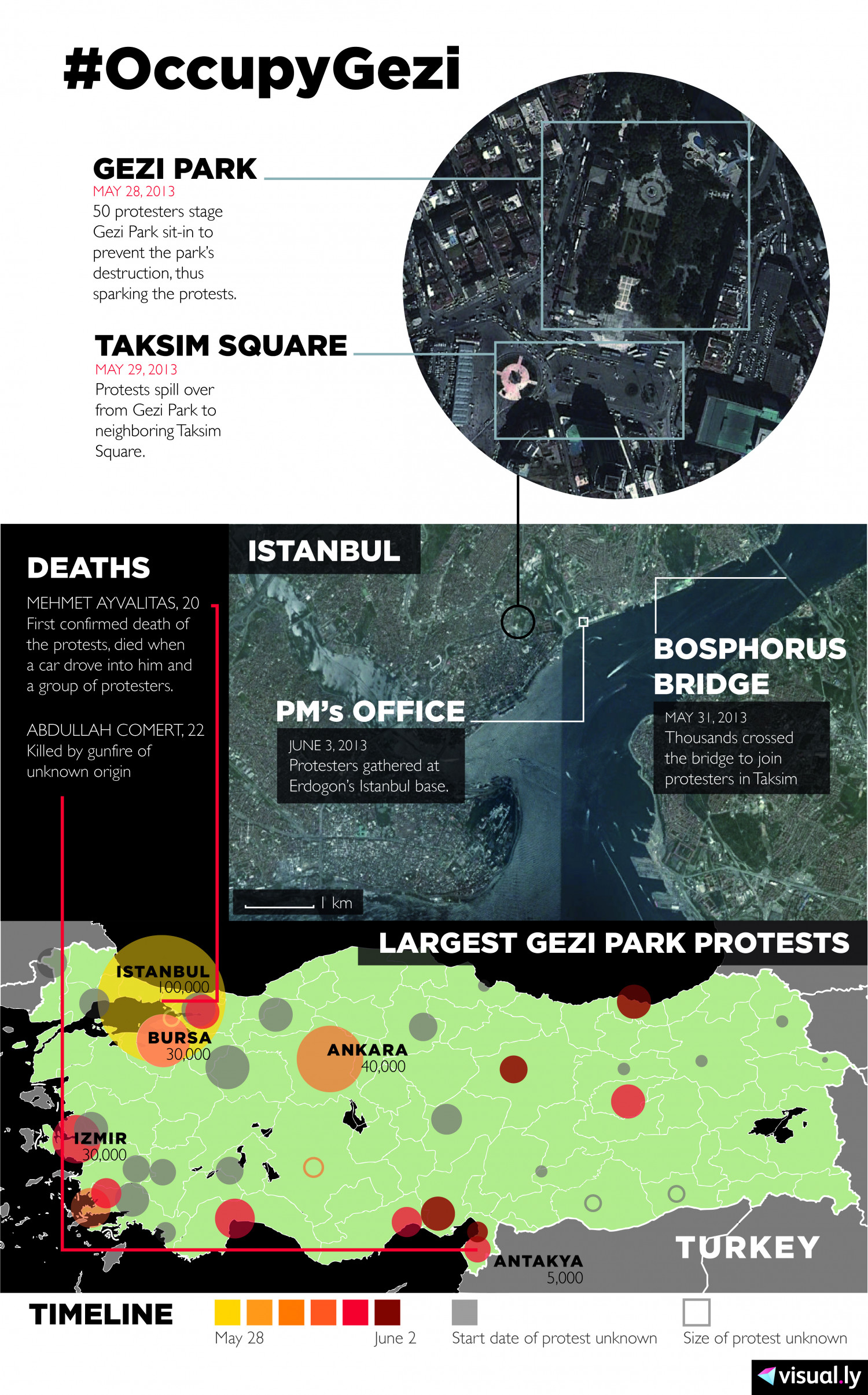 #OccupyGezi: Turkish Protests in 2013 Infographic