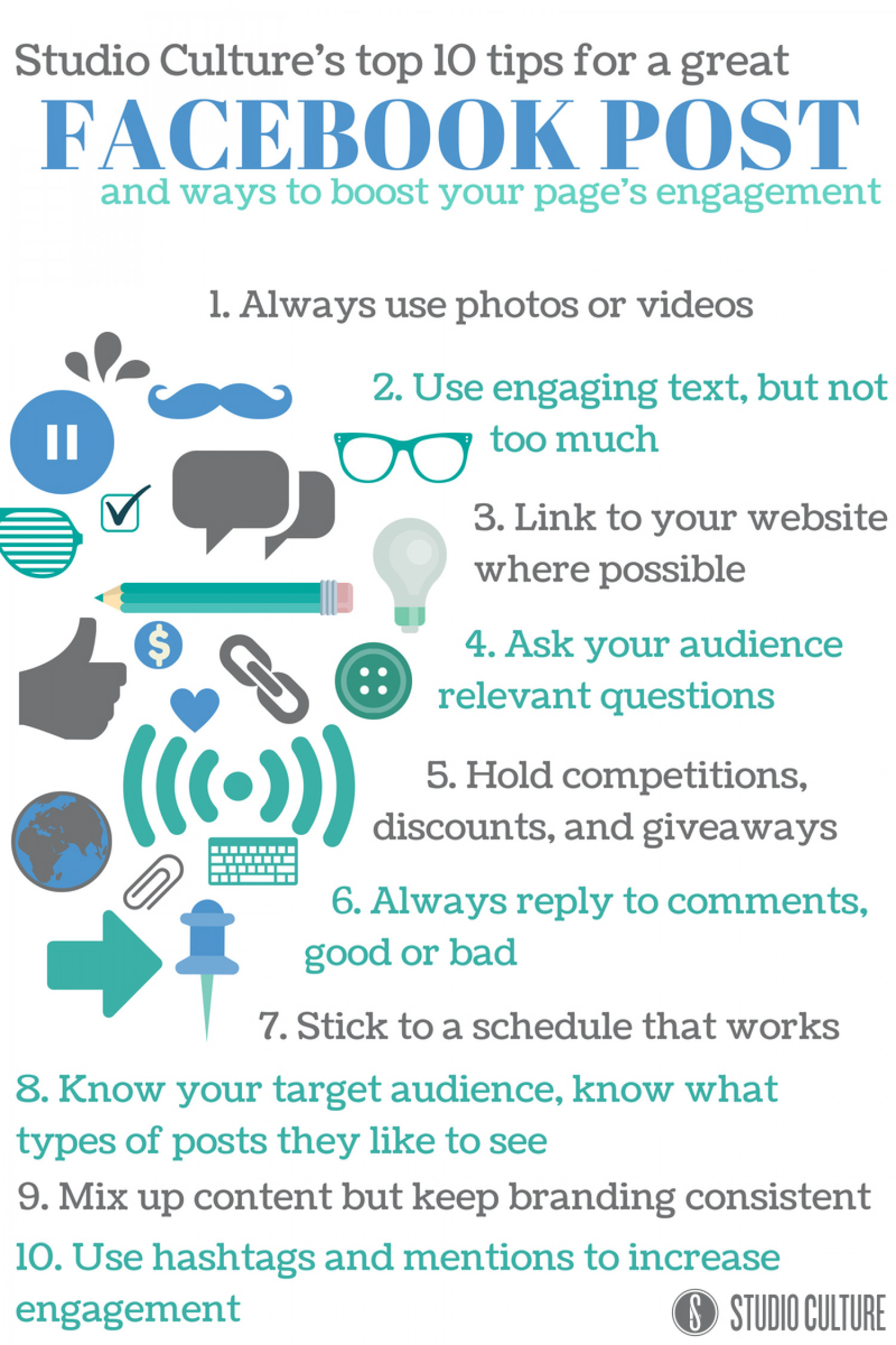 Top 10 Tips For A Great Facebook Post And Ways To Boost Your Page's Engagement Infographic