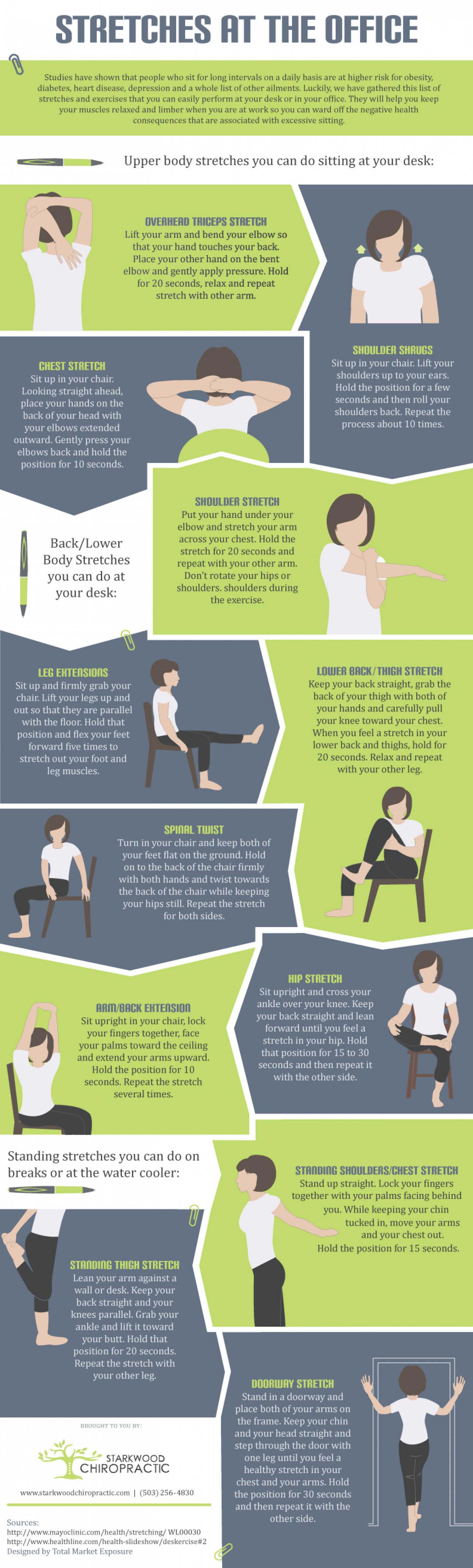 Portland Chiropractor Tips for Stretches at Work Infographic