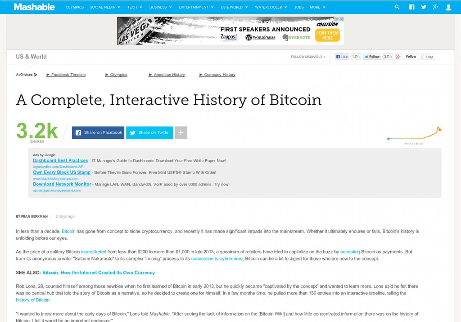A Complete, Interactive History of Bitcoin Infographic