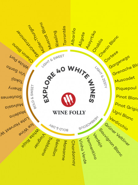 A List of Sweet and Dry White Wine Infographic